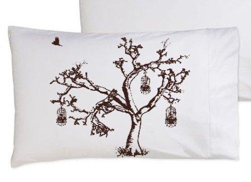 Birds of Freedom Tree Bird Cage Brown Oak Tree bedding NEW white pillowcase