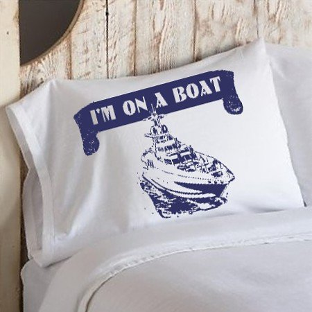 Navy Blue I'M ON A BOAT funny bedding nautical pillowcase