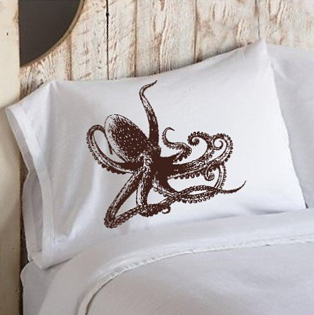 Brown Octopus Ocean Beach Nautical Pillowcase pillow cover