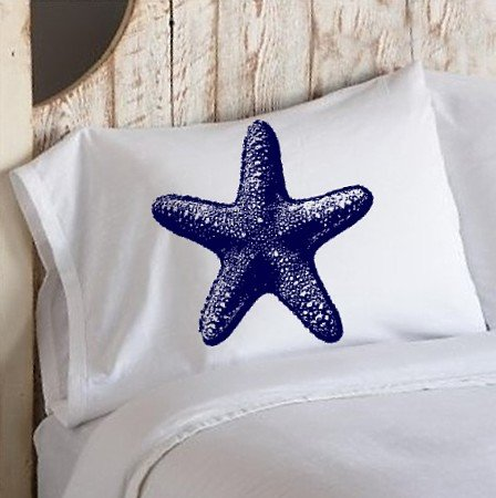Nautical Navy Blue Starfish Star Fish PILLOWCASEs White Pillow cover