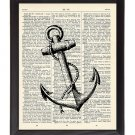 Anchor Printed On 1900's Dictionary Page 8x10