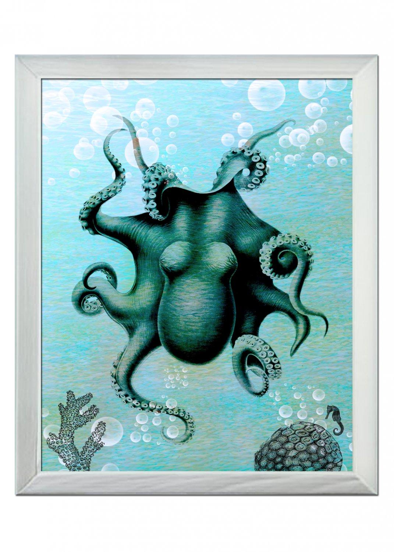 OCTOPUS BLUE WONDER 8x10 ART Prints WALL DECOR DONE BY ARTIST SoKe