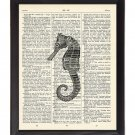 Black & White Seahorse Printed On 1900's Dictionary Page 8x10