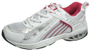 LADIES ATHLETIC SPORTS WHITE GREY AND WINE SNEAKER SIZE 6.5