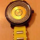 MEN TECHNO KING HIP HOP URBAN BIG FACE SPORTS WATCH YELLOW BAND BLK CHROME/STUDS