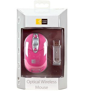EW-601 3-Button Wireless Rechargeable Optical Scroll Mouse (Pink)