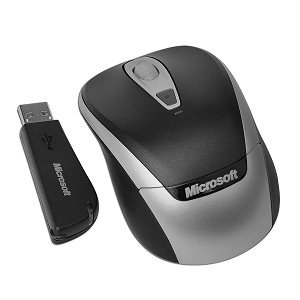 Microsoft 3000 4-Button Wireless Notebook Optical Scroll Mouse (Black/Gray)