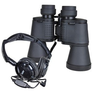 Vivitar Look & Listen 10x50mm Binoculars w/Built-in Microphone, Inline Volume Control