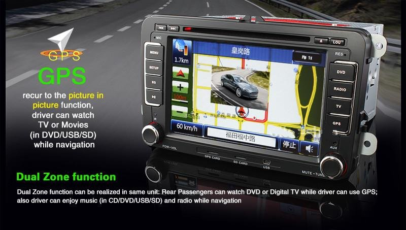 """Volkswagen 7""""  2 DIN HD Car DVD Player GPS Sat Nav PiP-181V"""