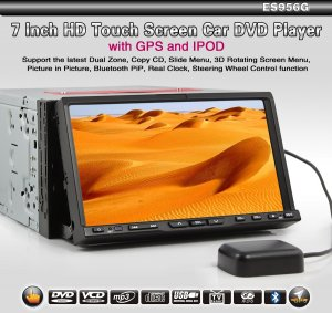 2 DIN HD Touch Screen GPS Car Video DVD Player Bluetooth RDS TV Slide menu 3D 956G