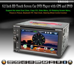 "HD Touch Screen 2 din 6.2 "" Car Video Player GPS PiP Dual Zone Analog TV RDS 853G"