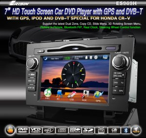 "7"" 2 Din HD Touch Screen Car DVD System for HONDA CR-V DVB-T GPS Window CE 6.0 3D- 969H"