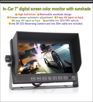 """7"""" color LCD Monitor CCD Reversing Camera Car Rear View Kit For Bus Long Truck"""