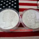 1 OZ .999 SILVER ROUND MERCURY WINGED LIBERTY SEALED IN AIRTITE CAPSULE  FREE SHIPPING