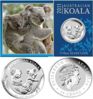 2011 Australia 1/10 OZ Silver Koala *SEALED* With Presentation Card