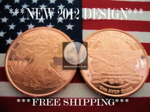 2012 1 OZ .999 COPPER ROUND COIN BAR WALKING LIBERTY AMERICAN EAGLE �NEW SILVER?