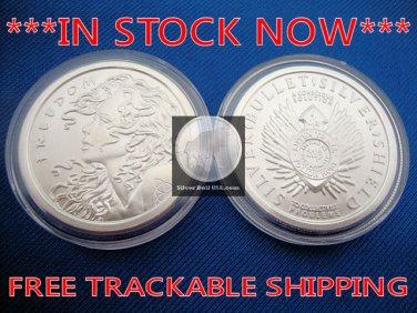1 OZ ounce .999 Freedom Girl BU GEM Silver Bullet Shield - Debt Death - Trivium
