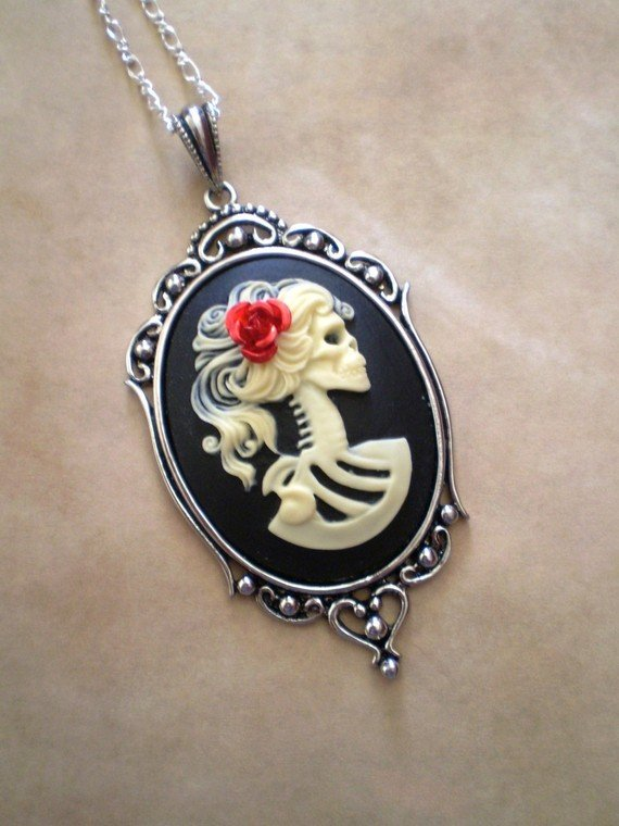 Gothic Ivory Black Lolita Skeleton Zombie Cameo Necklace