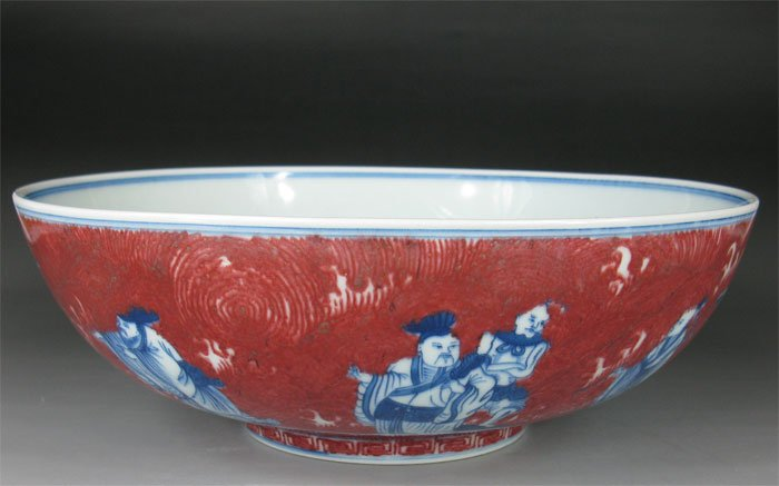 QING DYNASTY Under-glazed RED WITH BLUE & WHITE BOWL #P2563