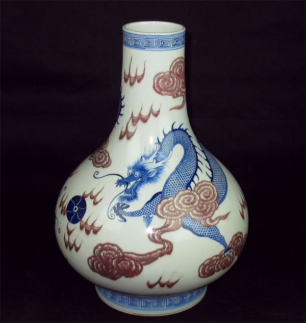 QING DYNASTY WITH BLUE & WHITE FLASK VASE #P2217