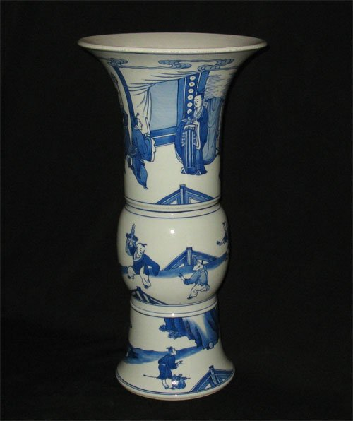 QING DYNASTY BLUE AND WHITE  Gu VASE #P2335