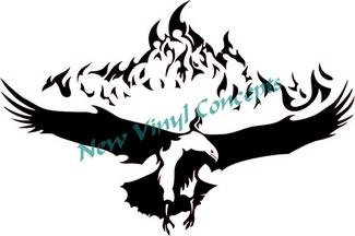 Flaming Eagle Tribal Style #4 Decal Sticker