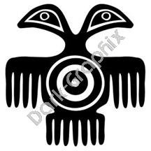 Two Headed Bird Meso Deko Ancient Logo Symbol (Decal - Sticker)