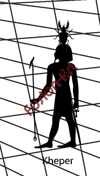 Egyptian God Kheper Silhouette (Decal - Sticker)