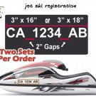 JET SKI REGISTRATION PSW BOAT SEA DOO NUMBERS PAIR*(Decal - Sticker)