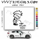 Calvin Pee on McCain Palin Cartoon Style#1 Decal Sticker