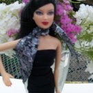 BARBIE BASICS BLACK & WHITE SILK SCARF shaw wrap 003 1