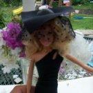 RARE BIG BLACK high society HAT barbie 1/6 scale Veil