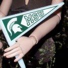 MSU BARBIE MICHIGAN STATE penant cheerleader flag 1/6