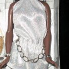 BARBIE SHORT silver dress outfit CHAIN BELT
