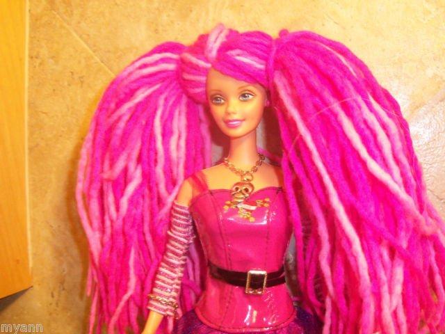 Pink Yarn Reroot Hair Beautiful Rocker Barbie Ooak Nude