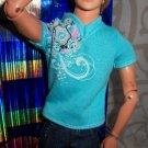 blue green swirly GENUINE KEN top tshirt t shirt BLUE Fashionetas Modern