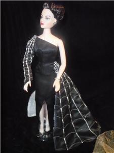 """GENE 16"""" doll size BLACK WIDOW- MADRA SPIDER WEB DRESS GOWN Gothic Beauty"""