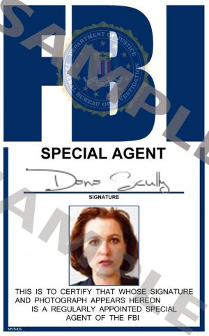 X Files Special Agent Dana Scully Portrait Id Card Template X3p345