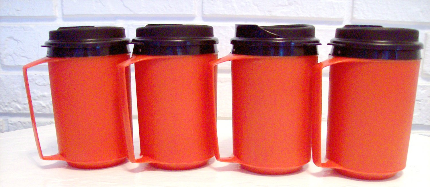 4 12 oz Red Classic Thermo Serv Insulated Travel Mugs