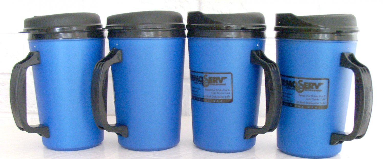 4 20 oz Blue Classic Thermo Serv Insulated Travel Mugs