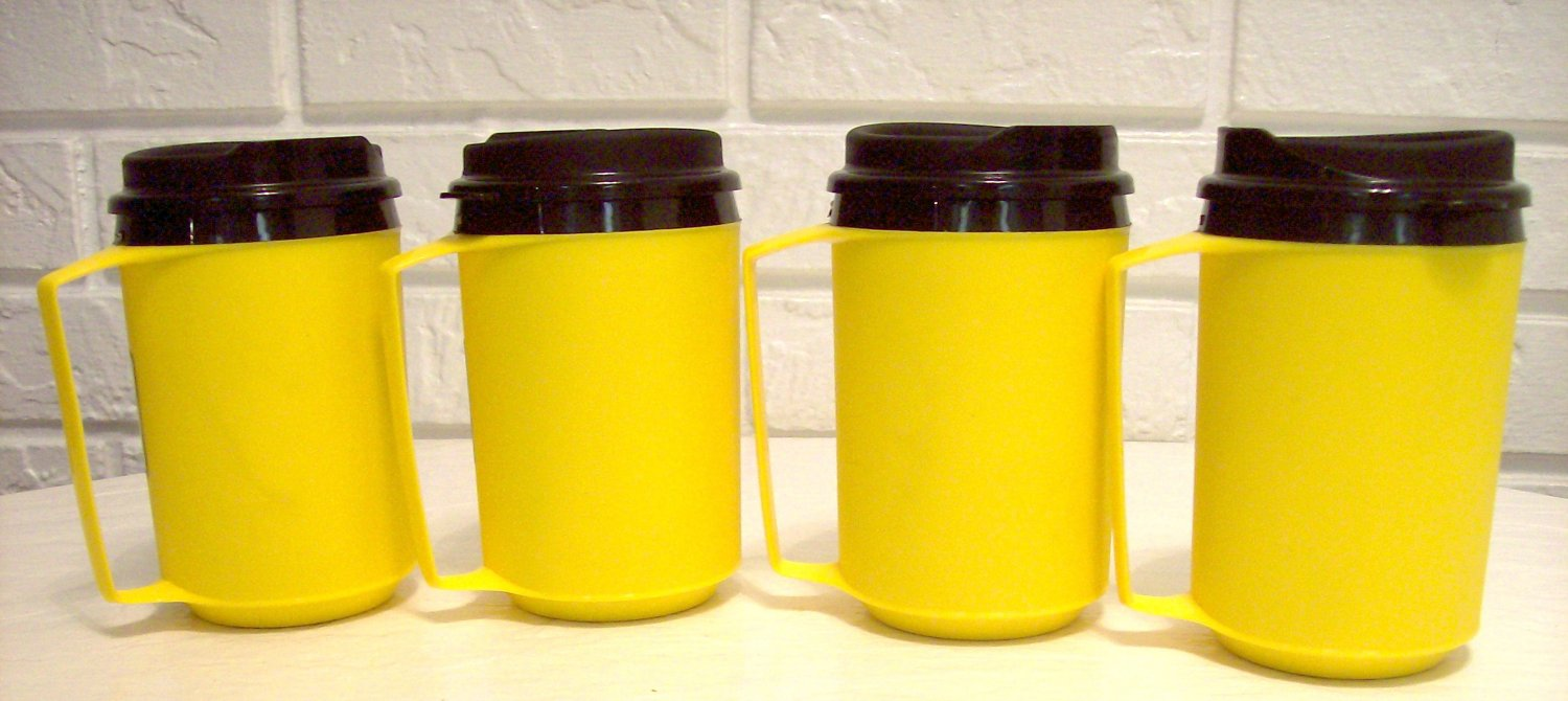 4 12 oz Yellow Classic Thermo Serv Insulated Travel Mugs