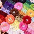 17 DAISY FLOWERS & 30 CROCHET HEADBANDS LOT HAIR BOW