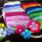 36 Grosgrain Ribbon Gerber Flower Gem Hair Clips & Crochet Headbands- You Pick