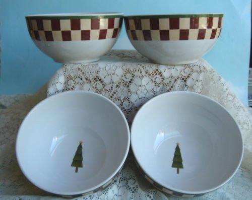 Set of 4 Zak Design's Debbie Mumm Folk Art Santa Soup / Cereal  Bowls New