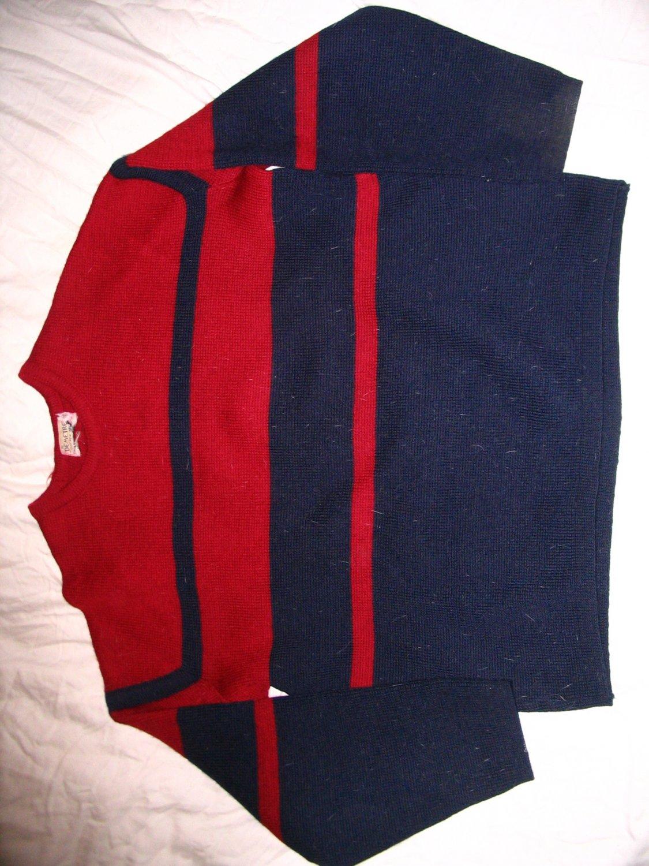 Demetre 100% Wool Sweater Red Navy Demeter