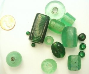 Lot of Very Large Green Glass Beads