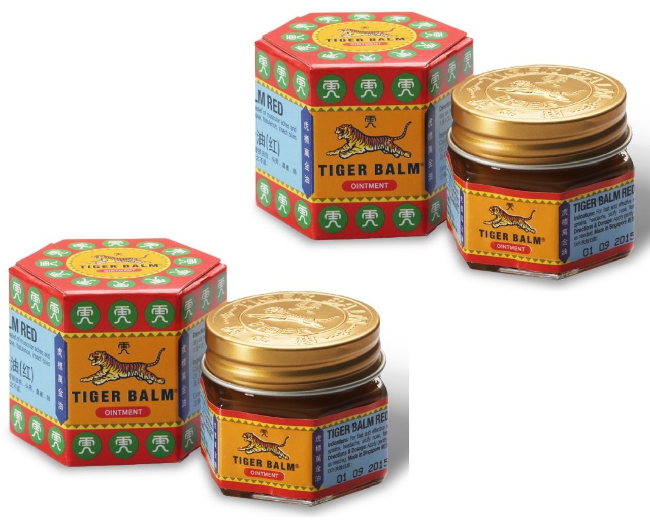 2X Lot Tiger Balm Red Medicated Ointments Oil 30g - soothing muscular aches and pains