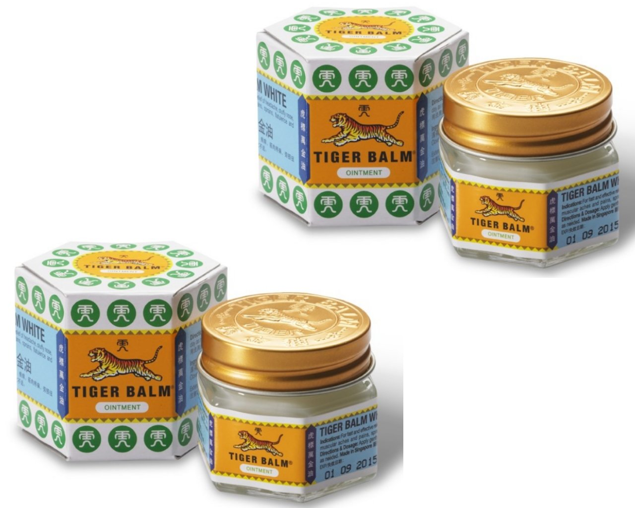 2X Lot Tiger Balm White Medicated Ointments 30g - insect bites , relieve itching & headache remedies