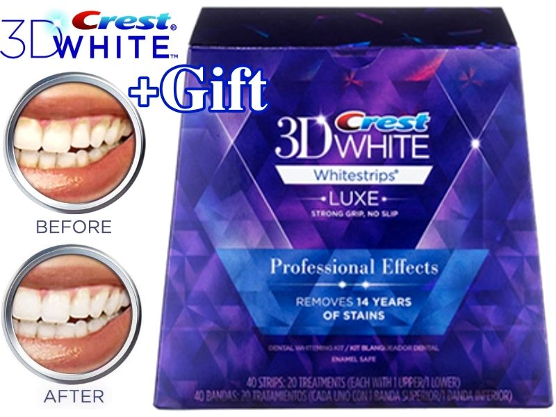 Crest 3D White Luxe Whitestrips Professional Effects 40 Strips / 20 Pouches (Made in USA)