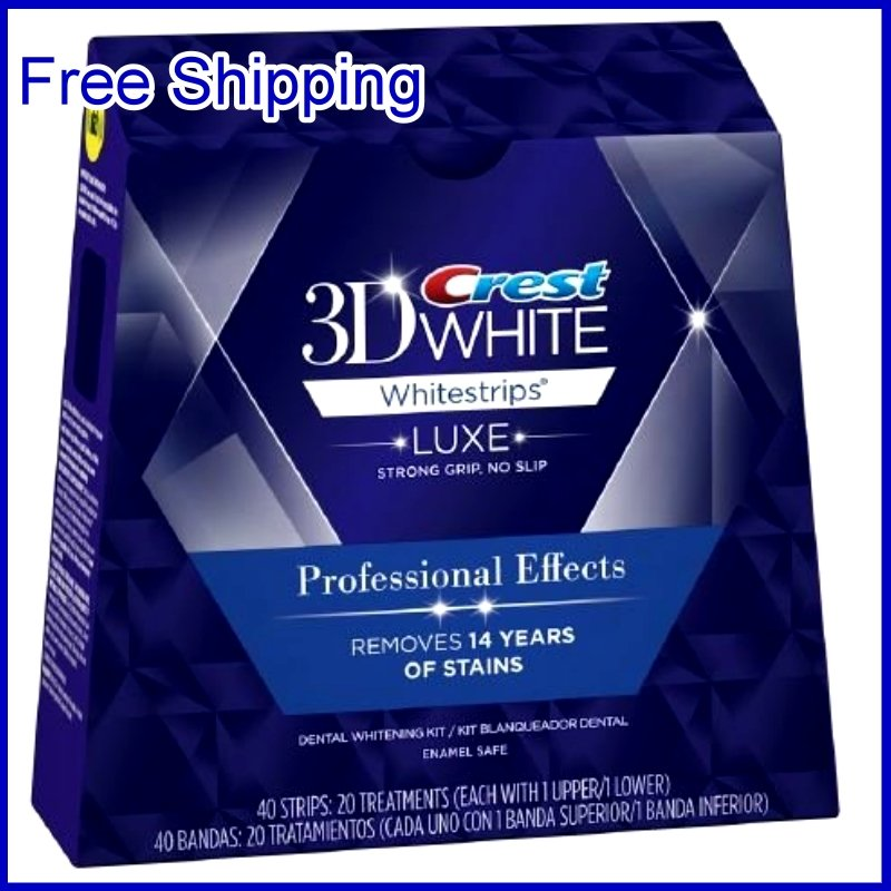 Free Shipping USA Crest 3D White Luxe Whitestrips Professional Effects 20 Pouches / Box